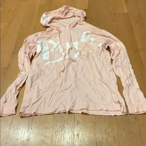 Pink long t-shirt with hoodie
